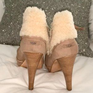 UGG GEORGETTE BOOTIES HIGH HEEL FUR SHOES WOMEN 10